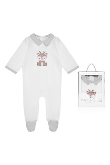 Boys White Cotton Babygrow