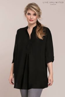 Live Unlimited Black Oversized Chambray Blouse