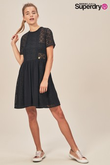 Superdry Black Ella Lace Panel Dress