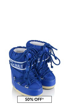 Boys Electric Blue Nylon Snow Boots