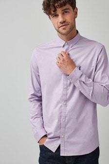 חולצת סטרץ' מכופתרת עם שרוולים ארוכים בגזרת סלים