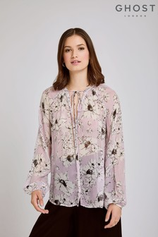 Ghost London Pink Mia Floral Print Georgette Blouse