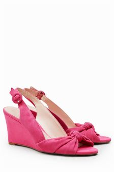 Suede Twist Wedge Sandals