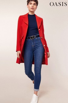 Oasis Red Double Crepe Pocket Coat