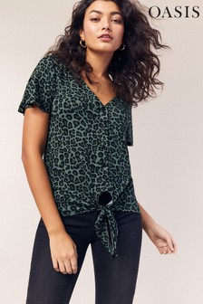 Oasis Green Animal Button Tie Front Top