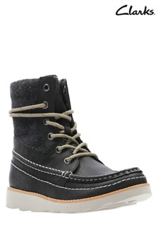 Clarks Black Kids Leather Lace-Up Boot