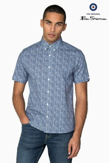 Ben Sherman Blue Short Sleeve Stencil Floral Shirt