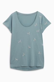 Crane Embroided Top