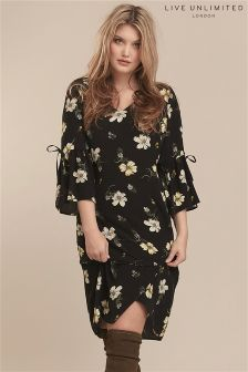 Live Unlimited Black Spaced Floral A-Line Dress