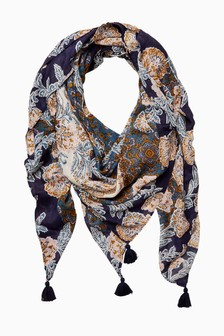 FatFace Blue Tapestry Floral Square Scarf