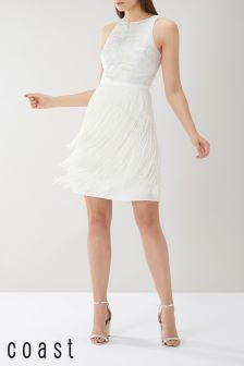Coast White Caitlyn Jacquard Fringe Dress