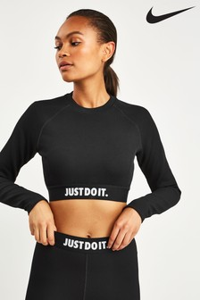 Nike Black JDI Rib Long Sleeved Crop Top