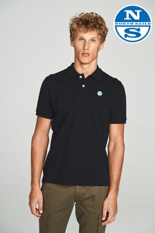 North Sails Black Short Sleeve Logo Polo