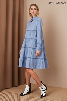 Sofie Schnoor Blue Shirting Tier Dress