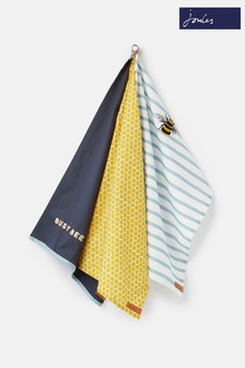 3 Pack Joules Floral And Striped Tea Towel Set