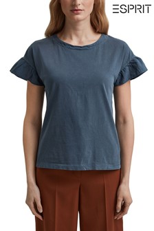 Esprit Blue T-Shirt With Frill Sleeve