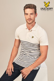 Lyle & Scott White/Navy Breton Stripe Polo
