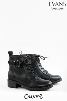 Evans Curve Black Buckle Strap Boots