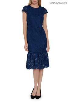 Gina Bacconi Blue Mareta Guipure Lace Dress