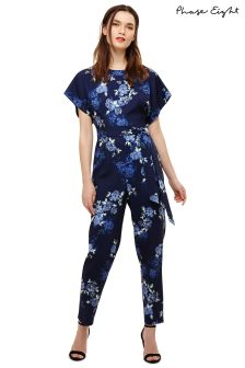 Phase Eight Navy/Berry Floral Jumpsuit