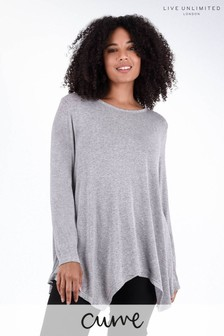 Live Unlimited Grey Marl Hanky Hem Top