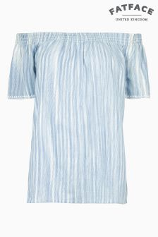 FatFace Chambray Ellen Stripe Bardot Top