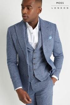 Moss London Slim Fit Blue Herringbone Tweed Jacket