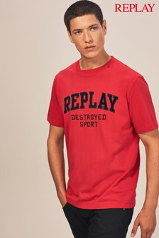 Replay® Red Destroyed Sport Embroidery T-Shirt