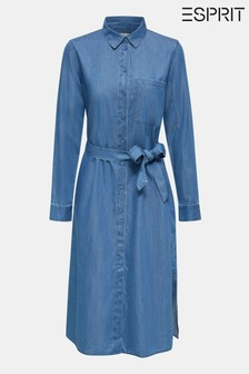 Esprit Blue Denim Dress With Tie Waistband And Long Sleeves