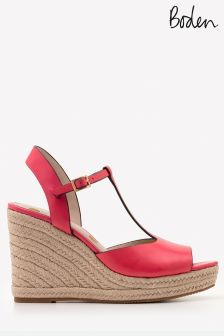 Boden Pink T-Bar Espadrille Wedge