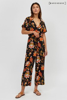Warehouse Black Paisley Floral Jumpsuit
