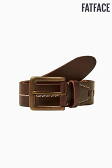 FatFace Brown Italian Leather Stitch Line Belt
