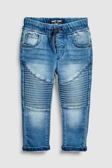 Трикотажные байкерские джинсы без застежек (3 мес.-6 лет)