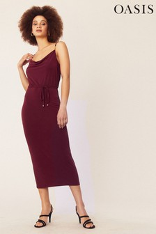 Oasis Red Cowl Neck Cami Dress