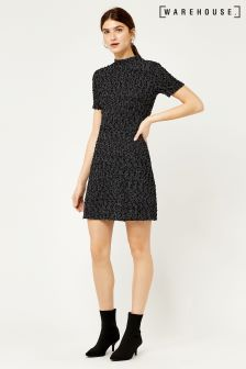 Warehouse Black/Grey Bouclé Dress