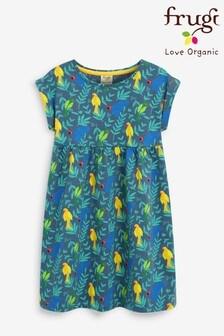 Frugi Organic Jersey Dress - Navy Parakeets