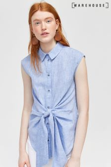 Warehouse Chambray Tie Front Shirt Blue