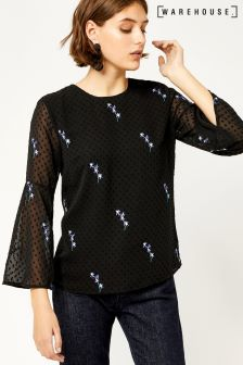 Warehouse Black Gilly Floral Embroidered Top