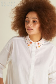 Oliver Bonas White Embellished Collar Shirt
