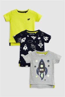 Appliqué Rocket T-Shirt Three Pack (3mths-6yrs)