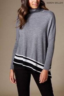 Karen Millen Grey Bold Stripe Fine Gauge Knit Collection