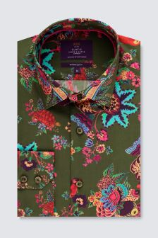 Hawes & Curtis Green And Red Floral Print Cuff Shirt