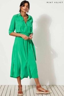 Mint Velvet Green Pocket Detail Midi Shirt Dress