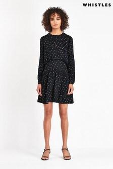 Whistles Maya Black Star Print Dress