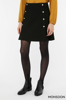Monsoon Ladies Black Margo Military Skirt