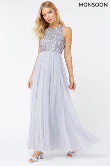 Monsoon Silver Scarlett Embellished Tulle Maxi Dress