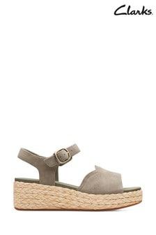Clarks Olive Suede Kimmei Way Sandals