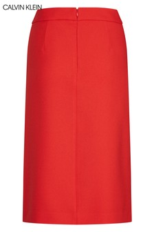 Calvin Klein Red Uniform Twill A-Line Pocket Skirt