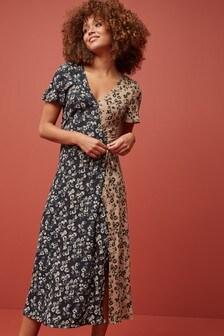 Mix Print Wrap Dress