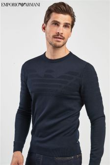 Emporio Armani Navy Flocked Crew Neck Jumper